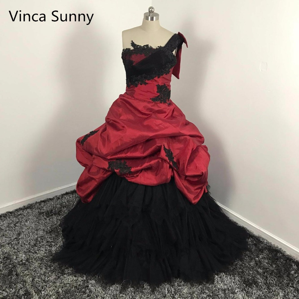 Gothic 2016 Red And Black Wedding Dresses Robe De Mariage New Puffy Unique One Shoulder Victorian Halloween Brides Ball Gowns