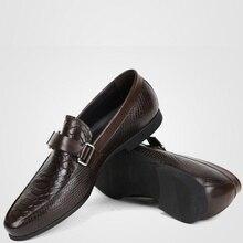 Дизайн; сезон осень; официальная обувь из натуральной кожи со змеиным узором; мужские лоферы без шнуровки; дышащие мужские модельные туфли; свадебные туфли