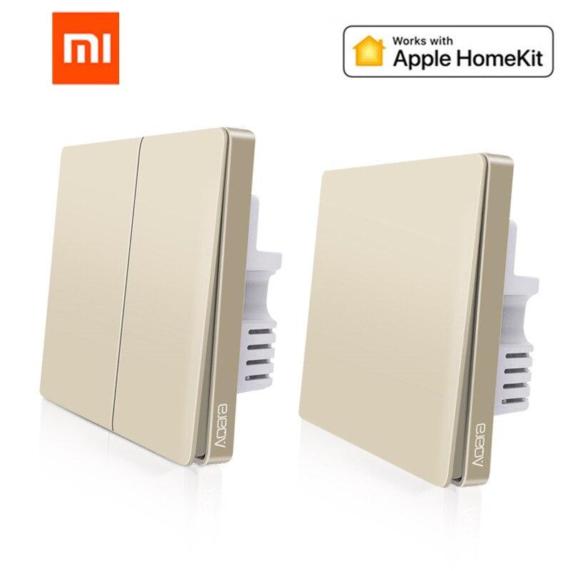 2019 mais recente atualização original mijia aqara interruptor de parede inteligente luz zigbee interruptores controle remoto versão ouro para apple homekit