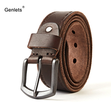 crazy horse cowhide leather belt genuine for men brown color pin buckle jeans strap vintage cinto black