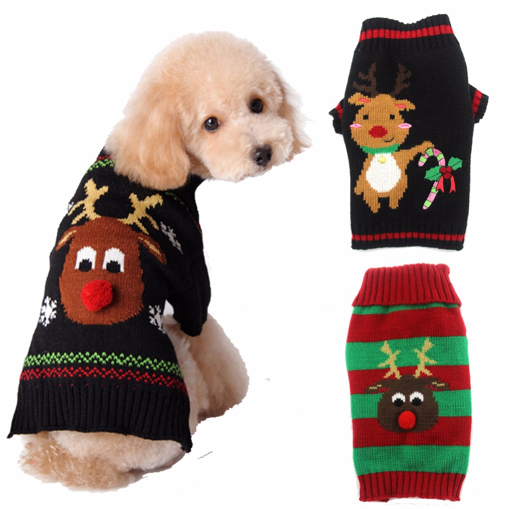 Christmas Dog.Us 1 99 Christmas Dog Sweater Winter Puppy Clothing Warm Xmas Reindeer Dog Clothes For Small Medium Pet Dogs Roupas Para Cachorro In Dog Sweaters
