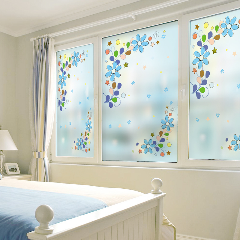 Custom Static Cling Stained Glass Window Film Frosted & Opaque Privacy Home Decor Digital print Removable BLT896 Love Flowers