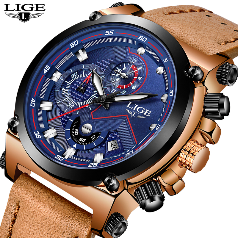 2018 LIGE Mens Watches Top Brand Luxury quartz wristwatches Men Casual Leather Military Waterproof Sport Watch Relogio Masculino 180psi air compressor pressure valve switch manifold relief gauges regulator set