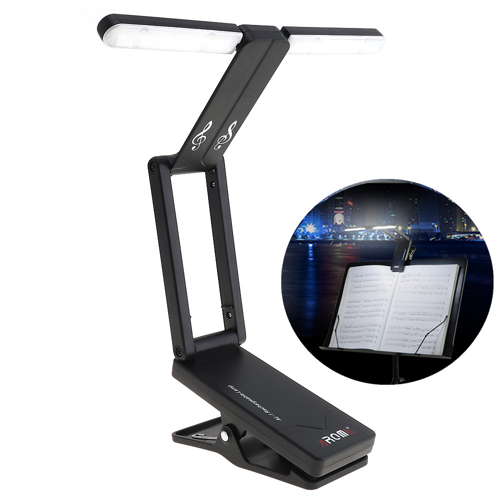 Rechargeable Music Sheet Stand Holder Lamp Foldable Folding LED Clip-on Light for Guitar Piano Light and Stage Lighting ...