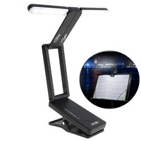 Rechargeable Music Sheet Stand Holder Lamp Foldable Folding LED Clip on Light for Guitar Piano Light and Stage Lighting