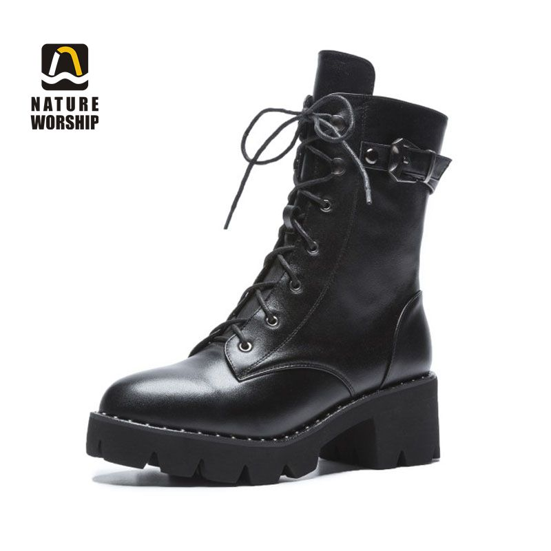 Spring Autumn Women Motorcycle Short Boots Lady Plus Size Genuine Leather Lace up Zipper Buckle Strap