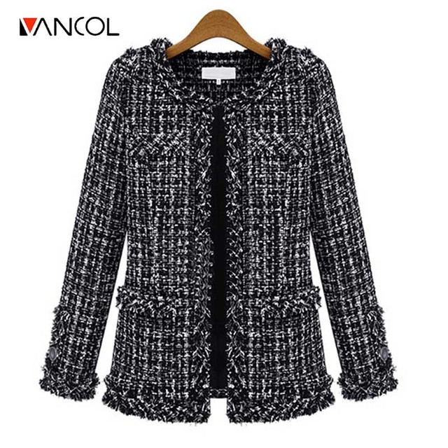 Vancol 2016 Осень Тонкий Черный Белый Клетчатый Ароматный Ветер Тонкий шерстяные Пальто Плюс Размер 3XL Casaco Feminino Зимние Пальто для женщины