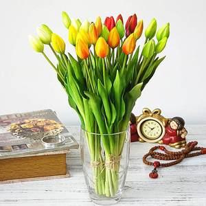 Image 2 - 7 шт./букет, мягкие силиконовые искусственные тюльпаны