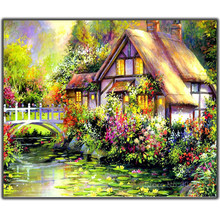5D Diy Diamond Painting Cross Stitch Farmhouse In The Woods Needlework Embroidery Full Round Mosaic Decoration Resin Kit