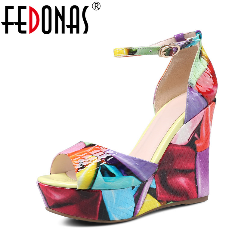 FEDONAS 2018 New Fashion Women Genuine Leather Shoes Wedges High Heels Platform Shoes Woman Spring Autumn Women Pumps For Ladies hot new 2018 spring autumn wedges high heels ladies casual shoes vulcanize women slip on platform shoes female chaussure femme