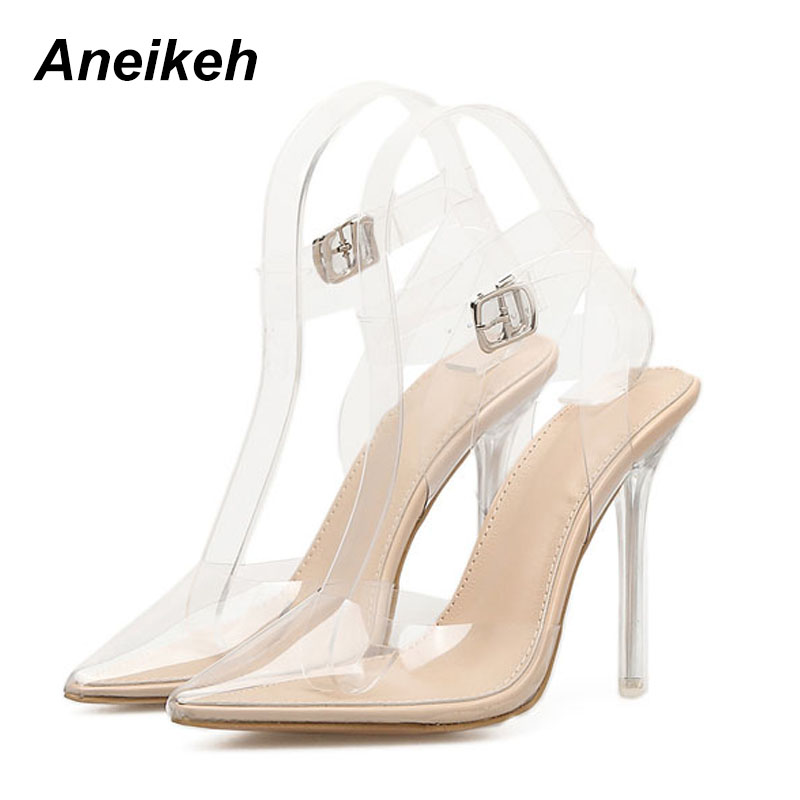 Aneikeh Summer Transparent Women Pumps Sandals High Heels Thin Heel Pointed Toe Ankle Strap Lady Shoes Size 35-40Aneikeh Summer Transparent Women Pumps Sandals High Heels Thin Heel Pointed Toe Ankle Strap Lady Shoes Size 35-40