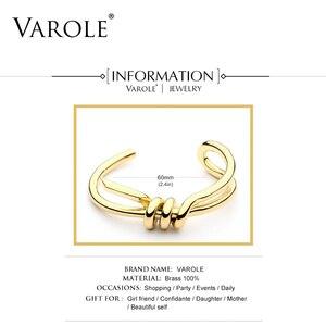 Image 4 - VAROLE Bracelet de manchette avec nœud, élégant, couleur or, bijoux, vente en gros, Bracelets pour femme