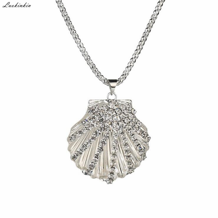 long simple gold&silver sea shell pendant necklace beach style chain necklace for women 2019 new Korean jewelry