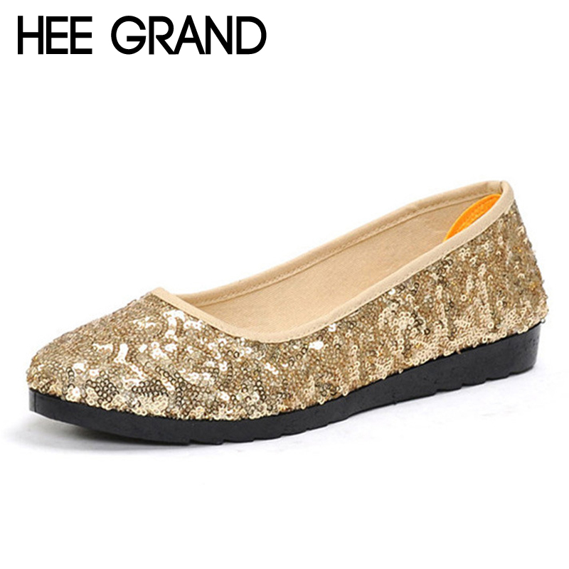 HEE GRAND Dancing Loafers Casual Platform Shoes Woman Bling Bling Ballet Flats Slip On Comfort Women Shoes Size 35-40 XWD6318 jingkubu 2017 autumn winter women ballet flats simple sewing warm fur comfort cotton shoes woman loafers slip on size 35 40 w329