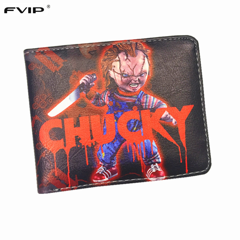 FVIP Cartoon Short Wallet Chucky /Dragon Ball / Saw /Inside Out /Thundercats Purse With Credit Card Holder Men's Wallet fvip wholesale wallet ghost busters minions despicable me doctor who rolling stone inside out nintendo wallets