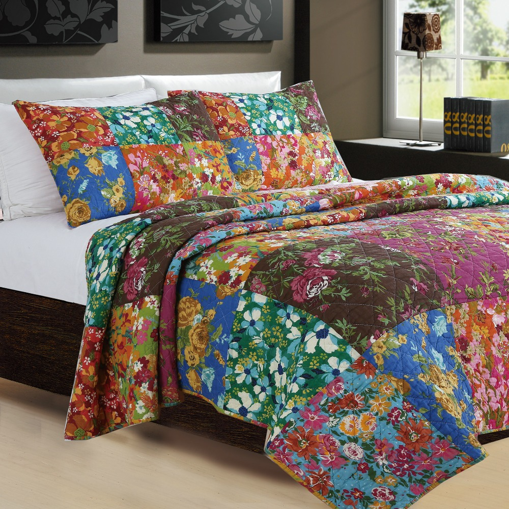 Chausub Patchwork Quilt Set 3pc Handmade Cotton Quilts