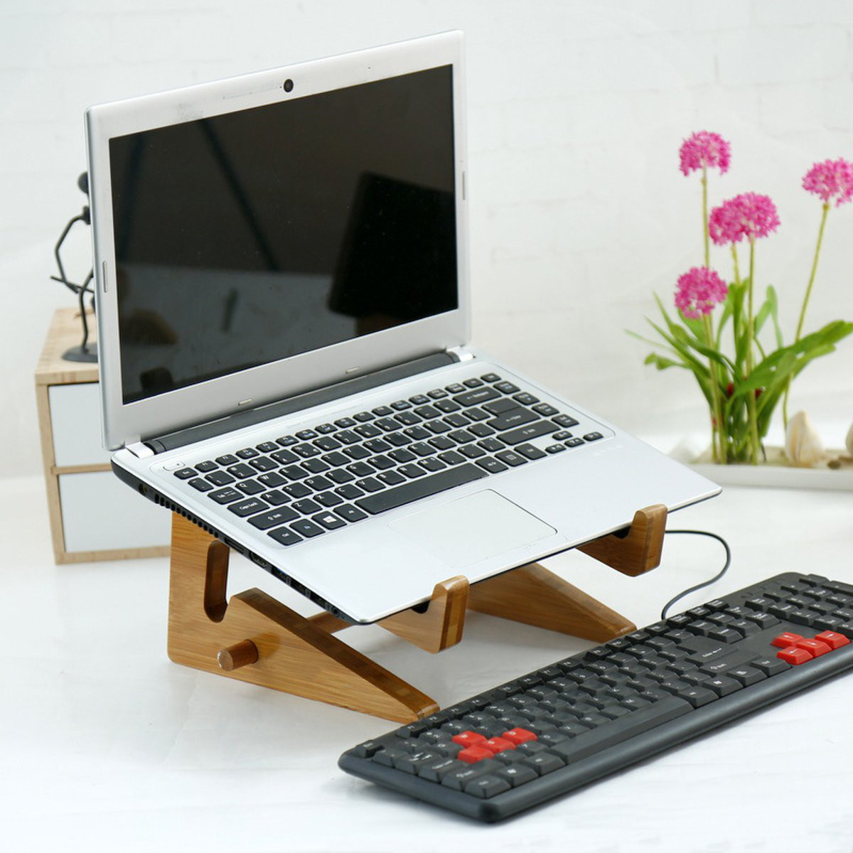 S/M/L Portable Bamboo Laptop Stand Holder Organizer Desk Tablet Notebook Cooling Bracket Home Office Computer Tablet Accessories