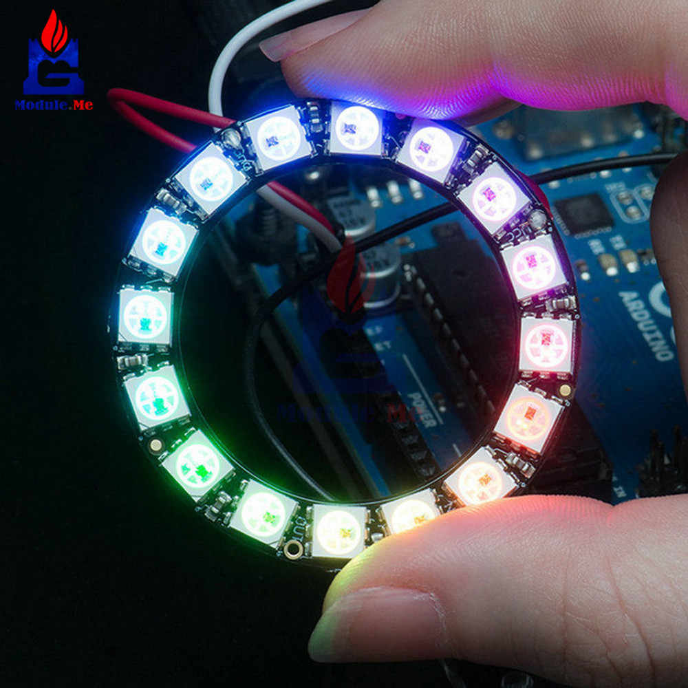 RGB LED Ring 16 Bit WS2812 5050 RGB LED Built-in Driving Lights 45mm Round Development Board Integrated Drivers For Arduino