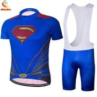 Hot Verkoop Superman wielertrui suits 2017 ropa ciclismo hombre bike team maillot fietsen sets captain amerika sport kleding