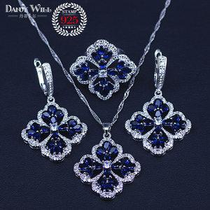 Image 2 - New Fashion Women Love Gift Dark Blue Cubic Zirconia Pendant/Necklace/Earrings/Rings/Bracelets silver color Jewelry Set