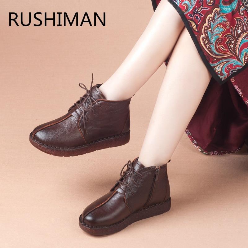 Moyen Chaussures Hiver Femmes Bottes Noir Mère Et 18 Chaud De Vieux Ronde Main En brown Lacet Cuir Loisirs vxxg6S