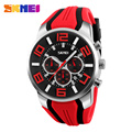 SKMEI Brand Men Wristwatches Sport  Fashion Casual Quartz Watches Silicone Strap Stop Watch Auto Date Big Dial Man Clock 9128