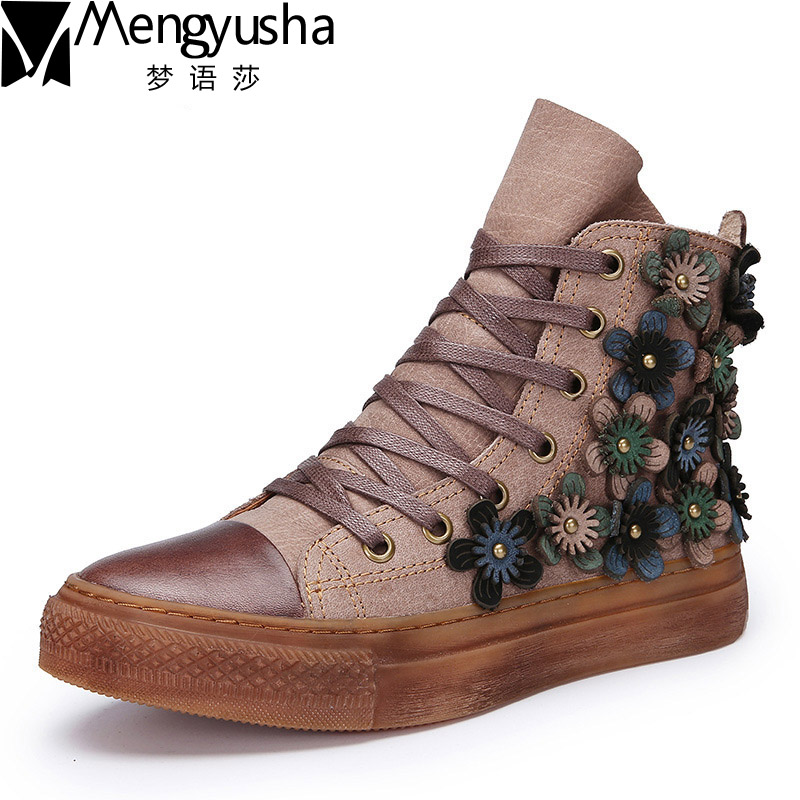 цена на 2018 Autumn Spring Genuine Leather Women Boots Flat Cowhide Women's Shoes Lace Up Art Vintage Flowers Ankle Boots zapatos mujer