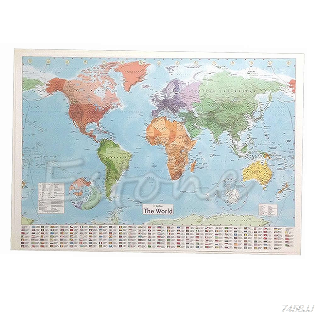 Wall MAP OF THE WORLD Chart Political Flags Home Art Decor Gift World Map Poster G22 Drop ship