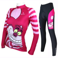 Big Mouth Cat Design Long Sleeved Cycling Jersey Lovely Women's Spring and Summer Sports Jerseys Pink Road mountain bike jerseys
