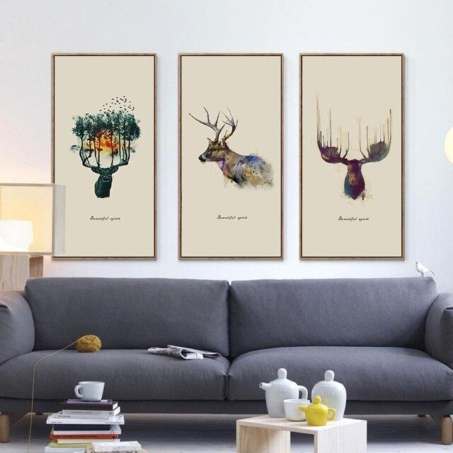 GroBartig Abstrakte Wand Kunst Drucke Watecolor Deer Leinwand Malerei Schöne Buckhorn  Geist Bilder Büro Wohnzimmer Decor Kein