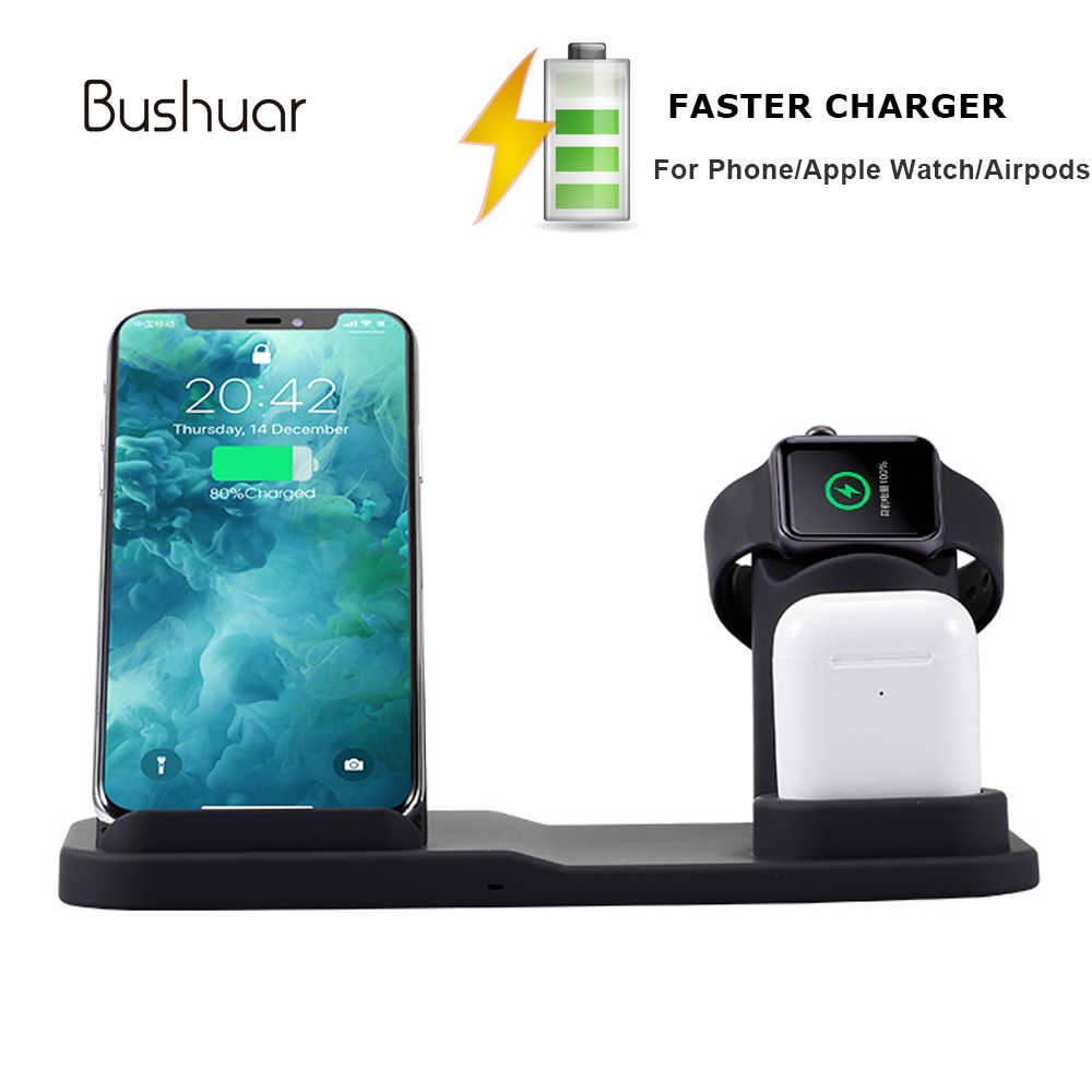 10W Qi Wireless Charger Fast Charging For iPhone 8 X XS Max XR 3 IN 1 Quick Charge Dock for Apple Watch iWatch 1/2/3/4 Airpods