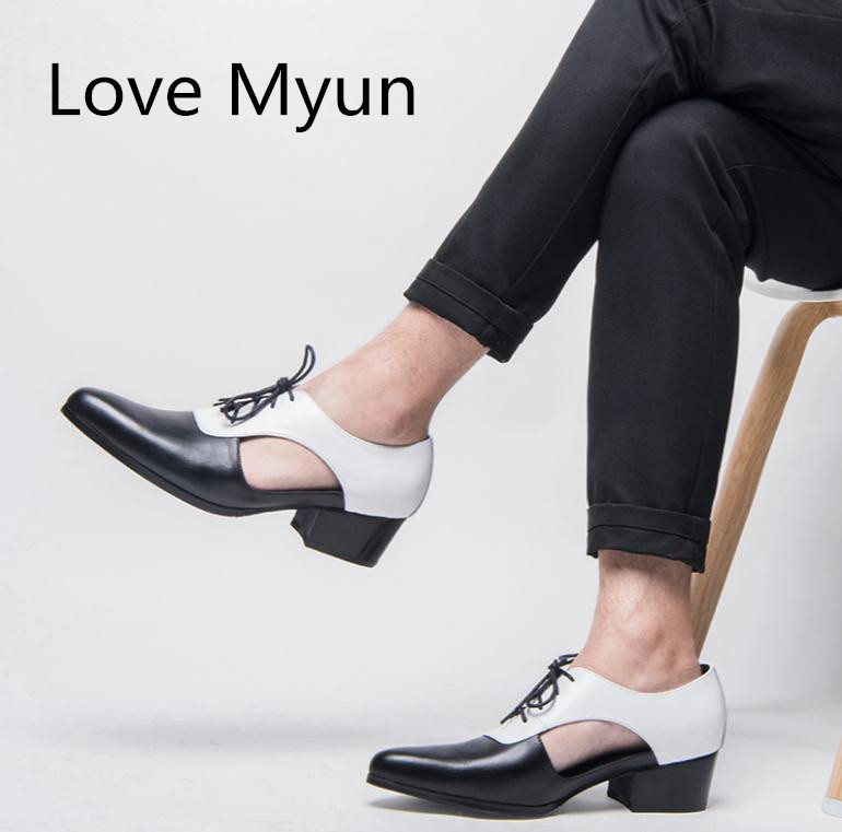 New Men Genuine Leather Sandals Summer oxford Dress Shoes 5cm High Heels Pointed Toe Laces Business
