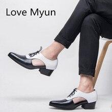 Новинка; мужские сандалии из натуральной кожи; летние модельные туфли-оксфорды; обувь на высоком каблуке 5 см с острым носком и шнуровкой; повседневная мужская обувь в деловом стиле; сандалии