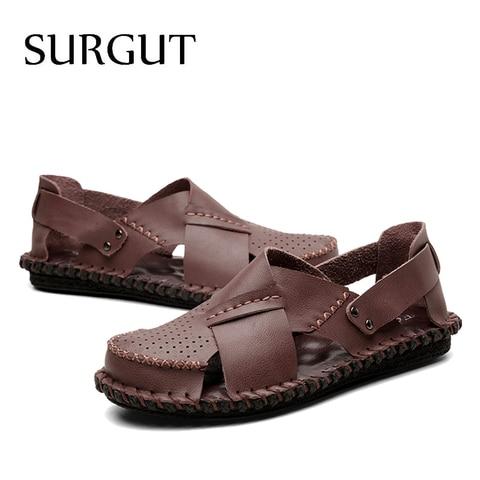 SURGUT Brand New Men Sandals Comfortable Genuine Leather Casual Shoes For Male Man Beach Sandals Men Summer Shoes Size 38~44 Multan