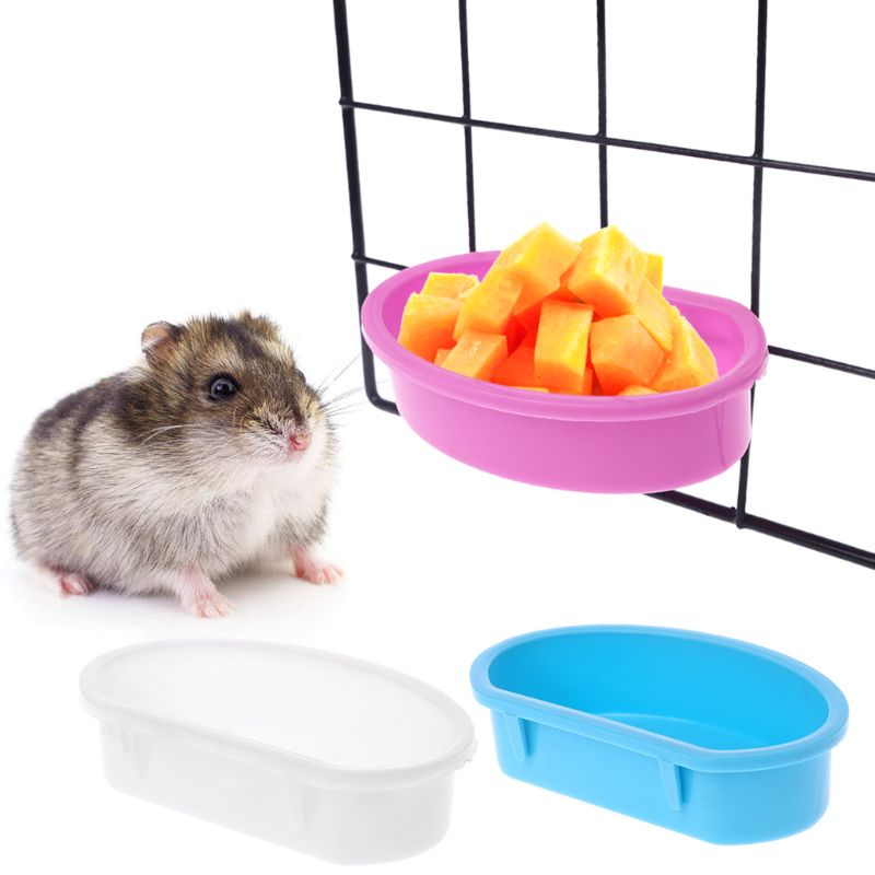 Small font b Pet b font Feeder Parrot Bird Feed Bowl Hamster Cage Hanging Drinking Food