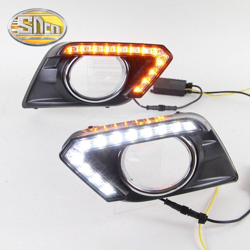 ФОТО For Nissan X-trail Xtrail 2014 2015 2016,Yellow Signal Function Relay Waterproof 12V Car DRL LED Daytime Running Light SNCN