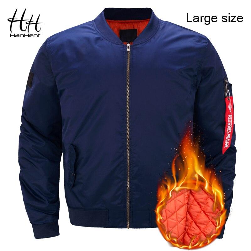 HanHent Мужская куртка Бомбер куртки большой размеры толстые зимние Мода 2018 г. Повседневное мужской над Размеры d Пальто Стенд воротник