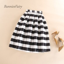 BunniesFairy 2017 Autumn New Women Black and White Horizontal Block Stripe Geometric Print Pleated Midi Skirt for Office Work