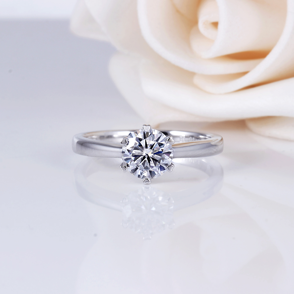 DovEggs Sterling Solid 925 Silver 1ct H Color Heart and Arrow Cut Moissanite Engagement Ring for Women Wedding Gift Ladies Ring in Rings from Jewelry Accessories