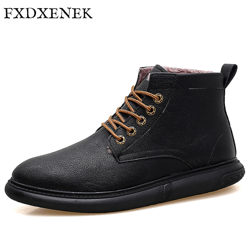 FXDXENEK Men Casual Shoes Autumn Winter Fur Keep Warm Leather Shoes Men New Fashion Waterproof Lace Up Ankle Men Shoes 39-44 2017 new spring imported leather men s shoes white eather shoes breathable sneaker fashion men casual shoes