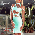 Bqueen 2017 New Women's Cutout Backless Bodycon Bandage Dresses Autumn Mint Green Sexy O-Neck Hollow Out Strap Cross Party Dress