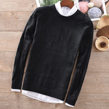 Suehaiwe's 2018 Autumn and winter wool sweaters o-neck jacquard black men warm slim