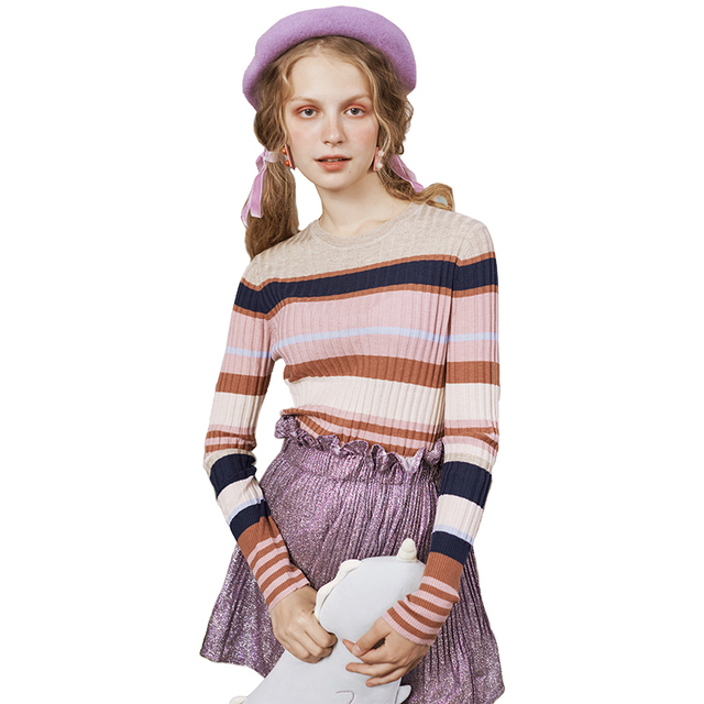 Women Sweater High Elastic Solid Turtleneck 2018 Fall Winter Fashion Rainbow Stripe  Slim Sexy Hight Bottoming Knitted Pullovers