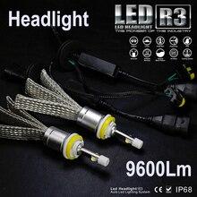 JGAUT R3 9600lm автомобиля светодиодный фар XHP50 комплект H1 H3 H4 H7 H9 H11 H13 9005 HB3 9006 HB4 автомобилей налобный фонарь Противотуманные огни белый
