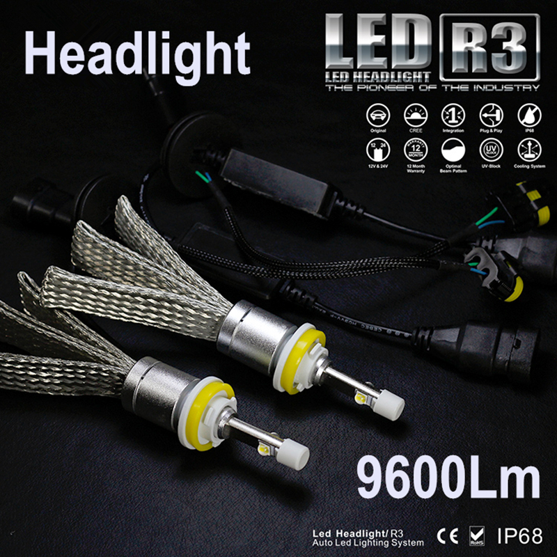 JGAUT R3 9600lm Voiture LED Phare XHP50 Kit H1 H3 H4 H7 H9 H11 H13 9005 HB3 9006 HB4 Automobiles Phare Brouillard Lampes Blanc