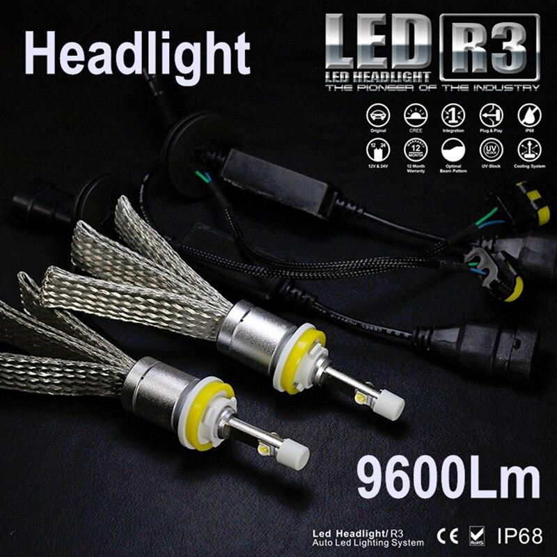 JGAUT R3 9600lm coche LED faro XHP50 Kit H1 H3 H4 H7 H9 H11 H13 9005 HB3 9006 HB4 automóviles niebla lámparas blanco