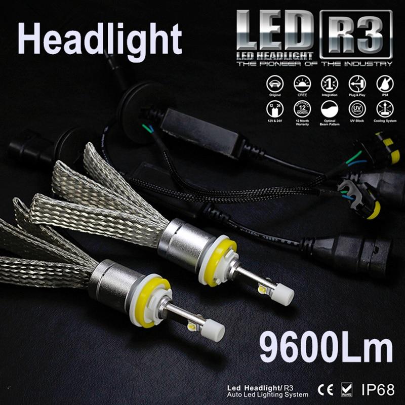 Runstreet TM Super Bright R3 9600lm 9012 HIR2 Xenon White 6000K Carr LED Headlight Conversion Kit