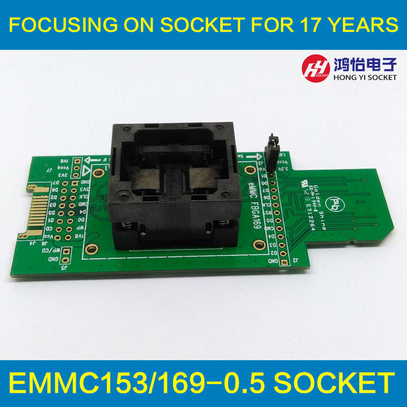 все цены на eMMC test Socket to SD interface for nand flash testing BGA169 BGA153 Reader Pitch 0.5mm Size 12x16mm For Reading Writing Data онлайн