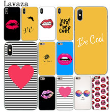 Lavaza Line Text Beard Cute Yellow heart Lips Cover Case for Apple iPhone X XS Max XR 6 6S 7 8 Plus 5 5S SE 5C 4S 10 Phone Cases