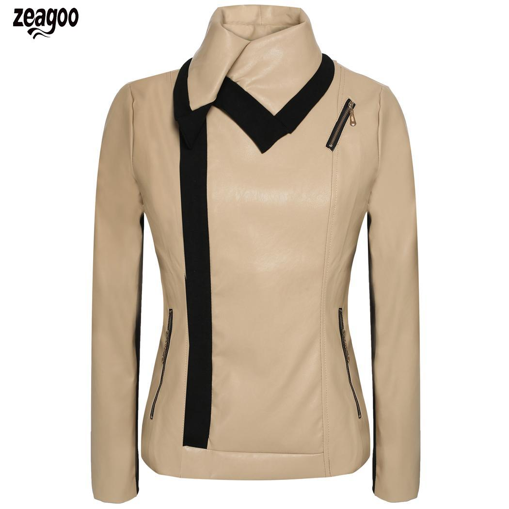 Angvns Women Fashion Lady Casual Long Sleeve Synthetic   Leather   Zipper Coat Solid Jacket Outerwear Regular